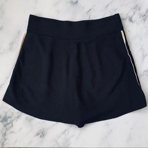 Zara Black Knit Skort Gold Side Stripe Size Medium